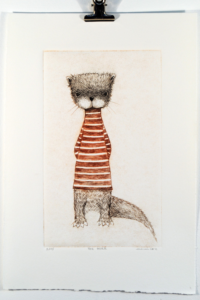 The Otter, Drypoint print by minu