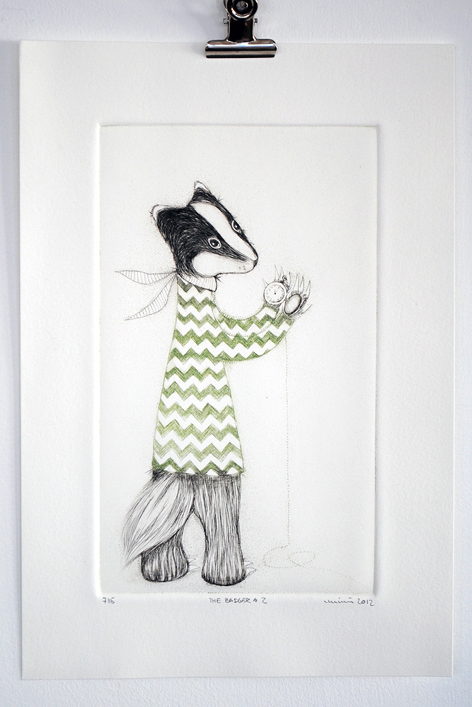 Badger No.2, Drypoint by minu