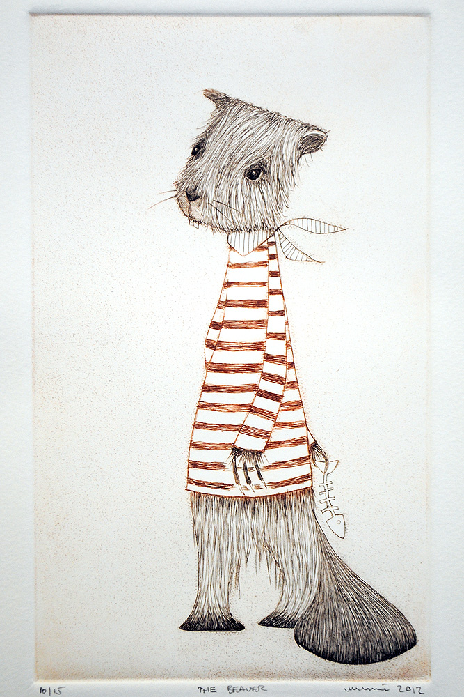 The Beaver, drypoint by minu