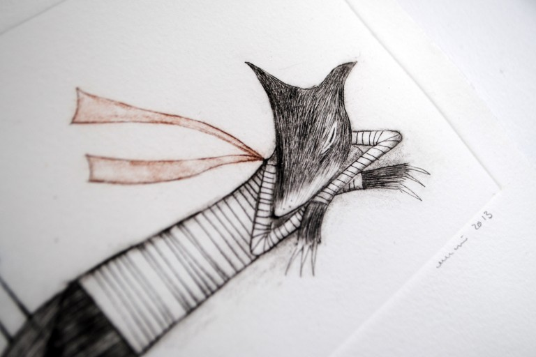 Wolf Dream, Drypoint by minu