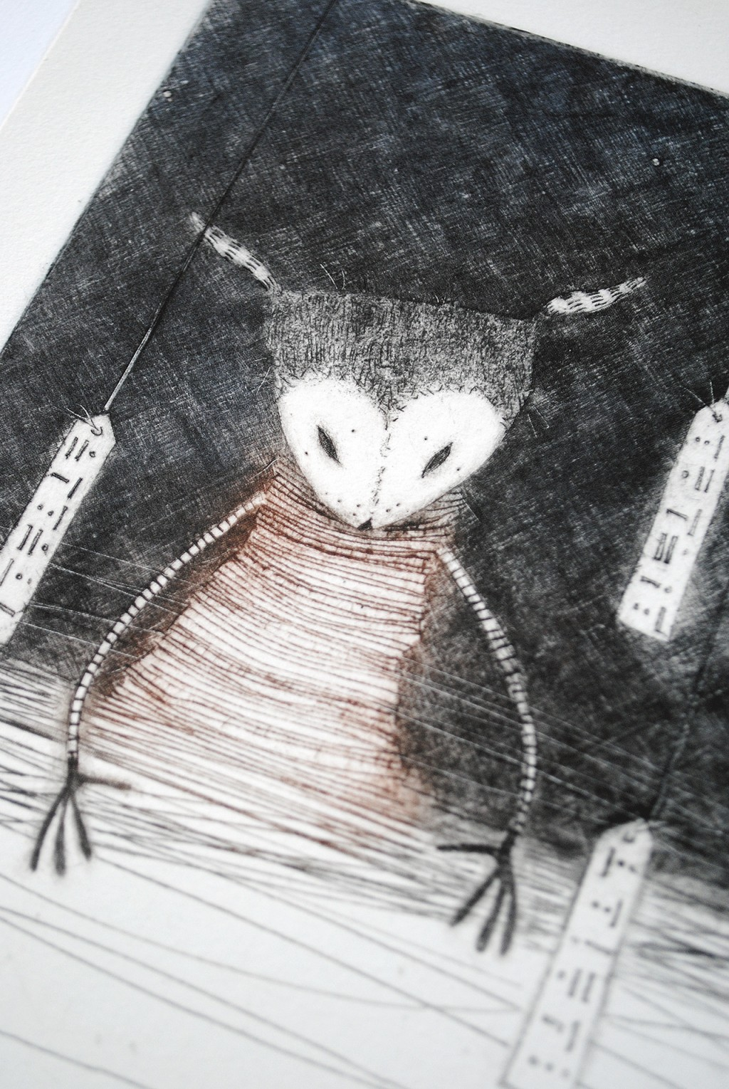 Gathering the night – Night Forest No.2, detail 1 - drypoint print by minu
