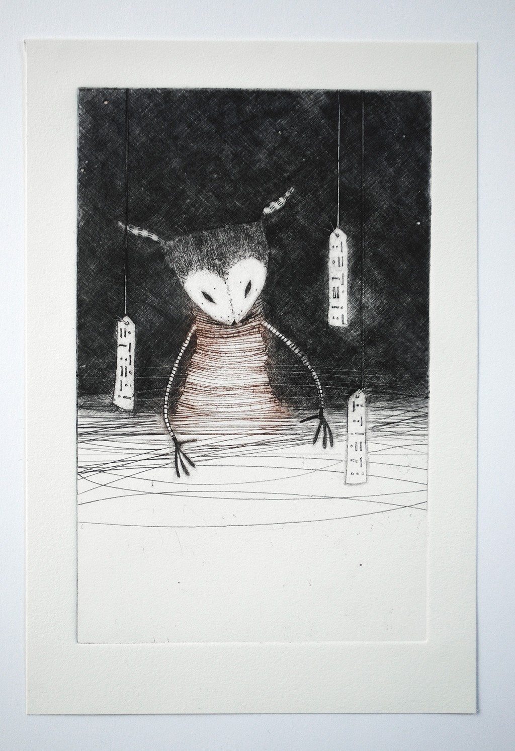 Gathering the night – Night Forest No.2, full view - drypoint print by minu