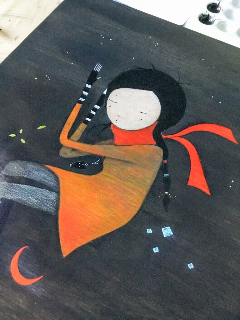 Work in progress - The tree, the moon, and the crystal (painting by minu)
