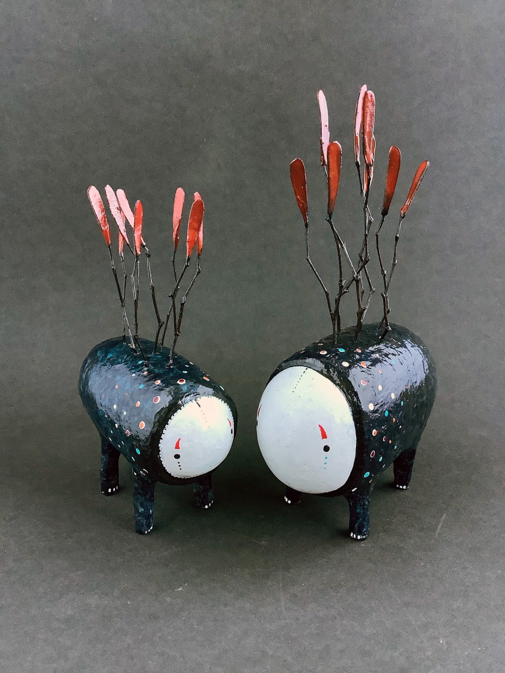 Forest Walkers - Paper mache sculpture by minu